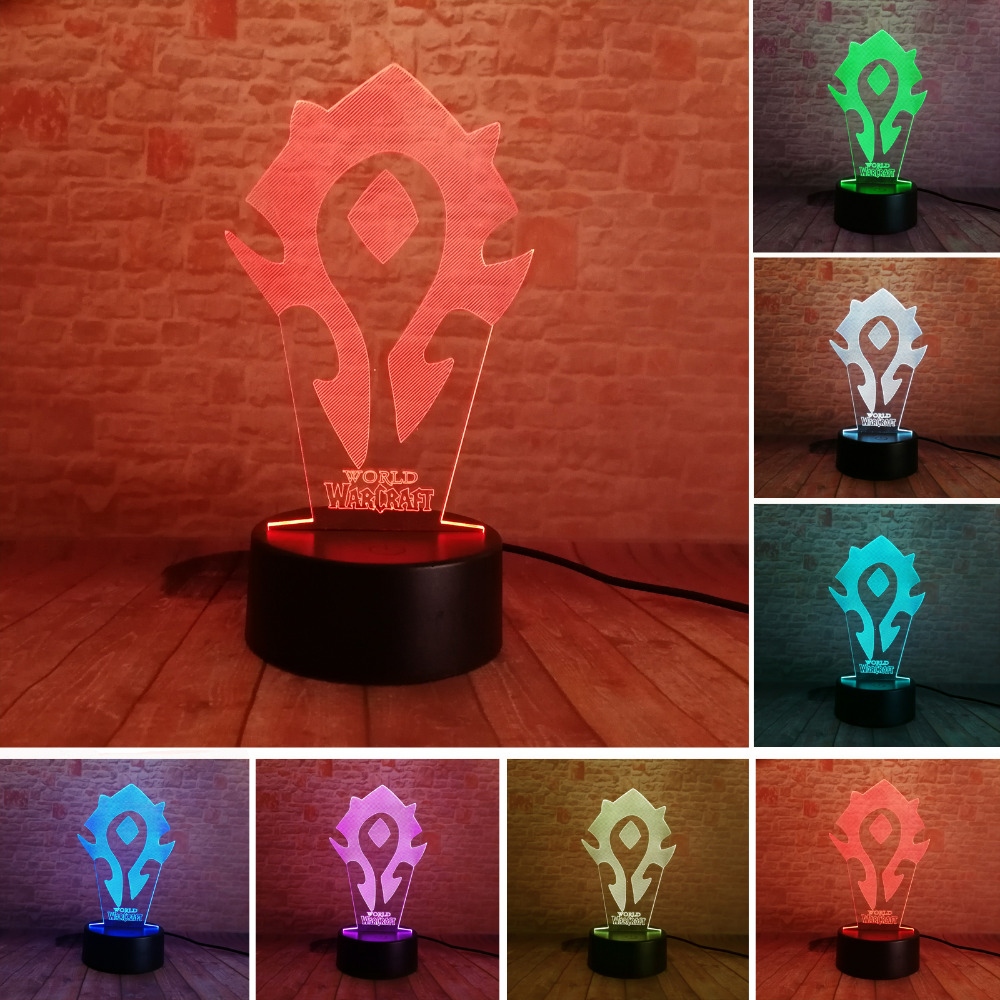 3D Illusion WOW World of Warcraft Tribal Signs 7 Color Desk Table Night Light Lamp Kiddie Kids Children Family Holiday Xmas Gift image