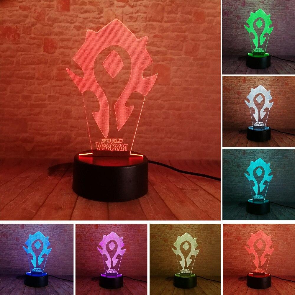 3D Illusion WOW World of Warcraft Segni Tribali 7 Colori Scrivania tavolo Lampada Della Luce di Notte Kiddie Bambini Famiglia dei bambini Vacanza Regalo di Natale