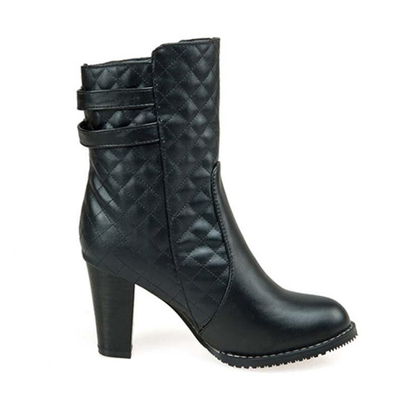 Pas Bottes Grand Talons Femmes Size34 Bout Rond Cher forme Chaussures Nouveau Des 46 Zip Noir D'hiver Anmairon Haute rouge Plate blanc Martin nq7wYSZ