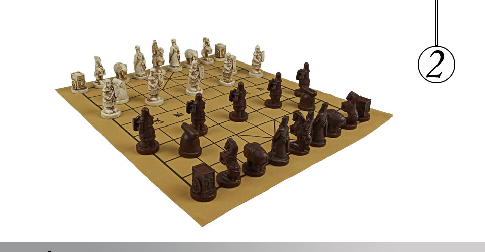 Easytoday Chinese Chess Games Synthetic Leather Chessboard Chinese Terracotta Warriors Resin Chess Pieces Table Games Birthday Gift (2)