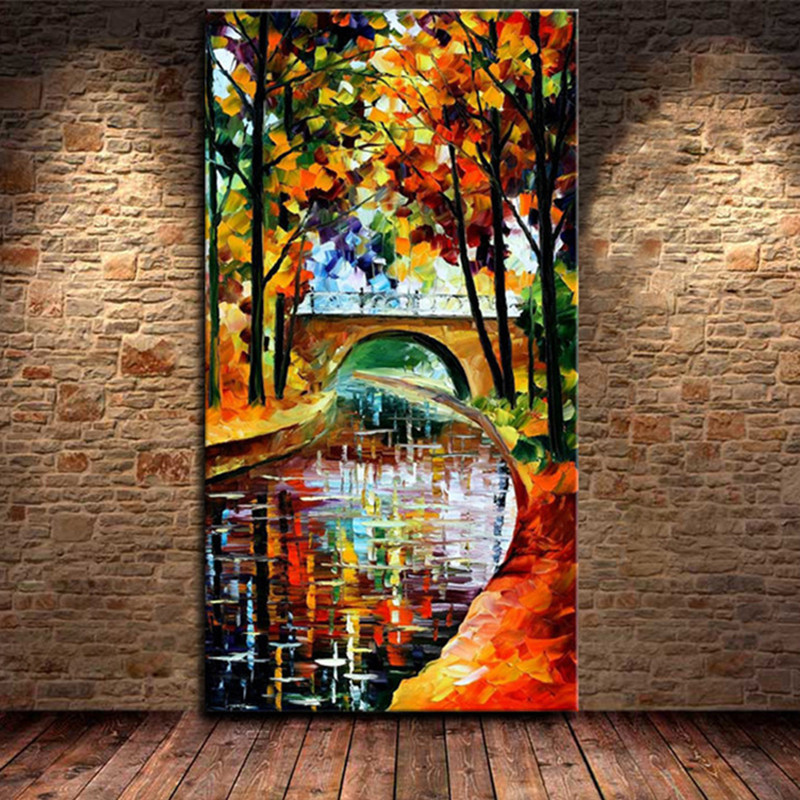 Large Wall Painting Knife Natural Trees River Art Pictures Handpainted Abstract Landscape Oil Paintings on Canvas Home Cuadros