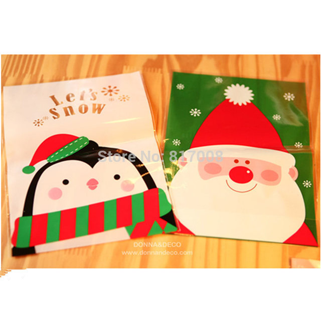 100pcs/Lot 14*20cm Penguin & Father Christmas Packaging Cookie Candy Biscuit Plastic Bags