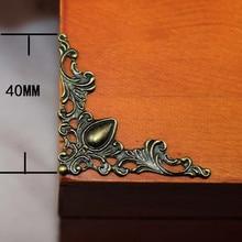 Bronz telkari üçgen çiçek sarar Cabochon eski kalp köşe Flatback Metal bezemeler Scrapbooking 40mm 100 adet
