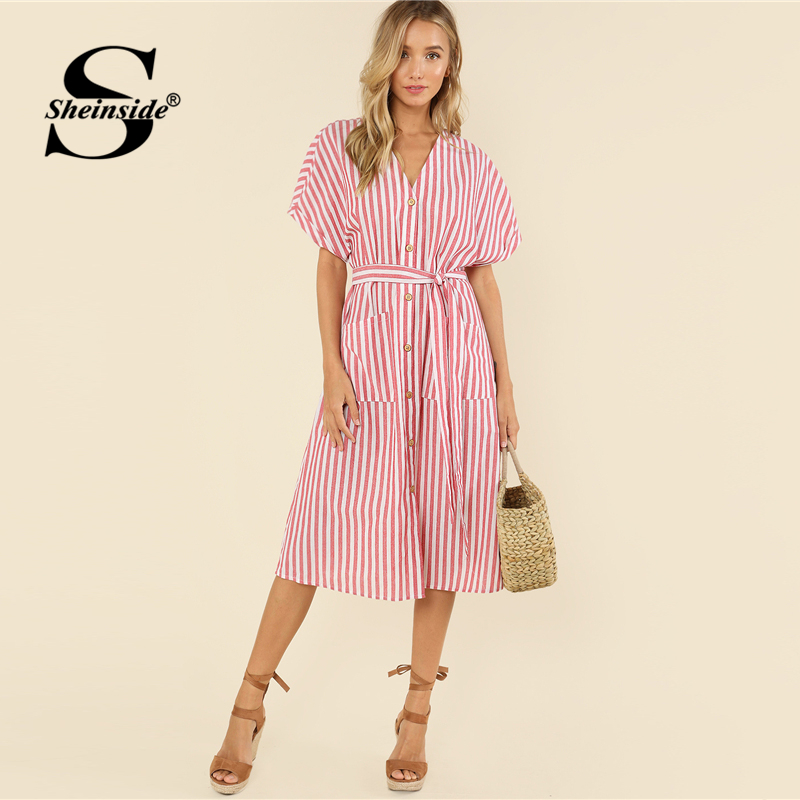 57b1983c7958 Sheinside Pink Striped Belted Elegant Dress Button Up Pockets Front  Multicolor V Neck Women Summer Midi Casual Dress-in Dresses from Women s  Clothing on ...