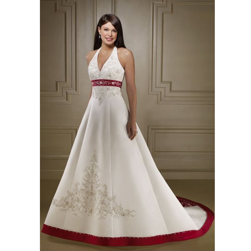 Hot Red and White Wedding Dresses 2017 Halter Neckline Satin Embroidery  Wedding Gowns Beaded Backless Plus Size Wedding Dress-in Wedding Dresses  from ... a6cb5ba57191