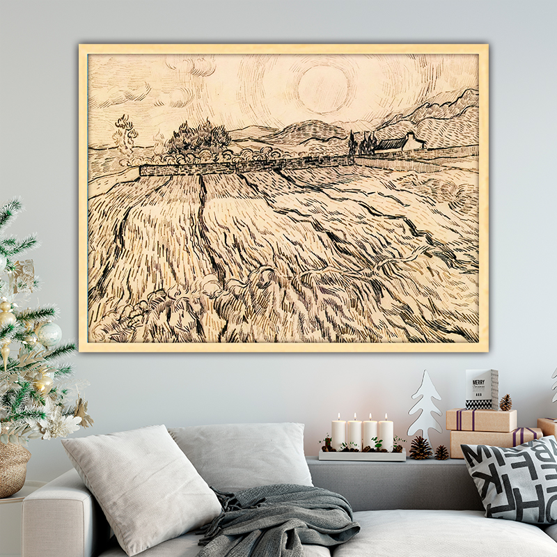 Van Gogh enclosed field with rising sun diy by numbers art paint impressionist paint adult hand drawing living room decoration