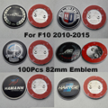 100Pcs 82mm For F10 5-Series 2010-2015 Front Bonnet Emblem Cover Head Hood Logo Cap Rear Trunk Label Tail Boot Badge