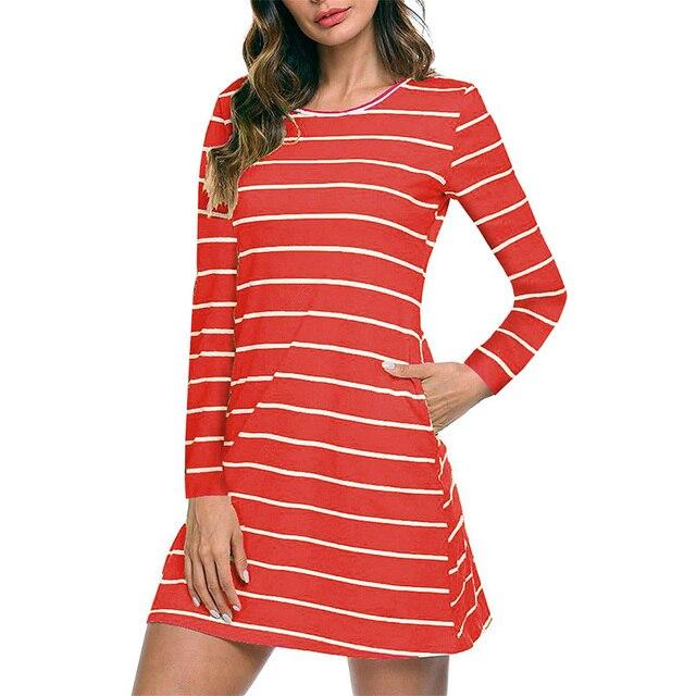 dcb06b01d466 Ladies Secret Long Sleeve Striped Casual T-Shirt Tunic Mini Short Dresses  Women Loose Criss Cross Back with Pockets S M L XL 2XL