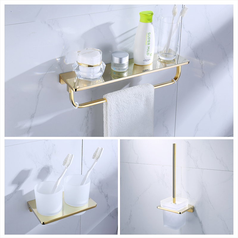 Gold Bathroom Accessories Set Toothbrush Holder Metal Bathroom Shelves Toilet Brush Holder Bathroom Hardware Set Towel Ring image