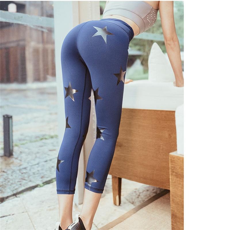 Oyoo Army Green Star Pattern Sport Tights Cute Calf-Length Yoga Leggings Capris 3/4 length Workout Jogging Pants