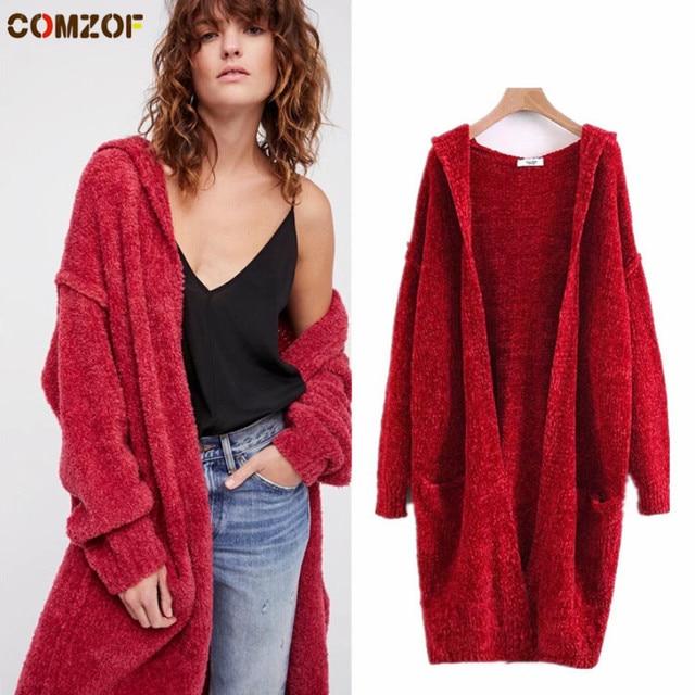 spesso Autunno inverno donne ciniglia maglione oversize moda rosso lungo  YX07
