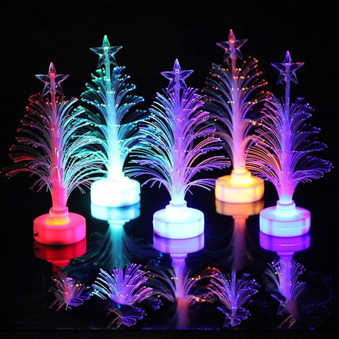 Colorful LED Fiber Optic Nightlight Decoration Light Lamp Mini Christmas Tree Color Changing