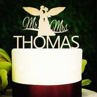 Personalized Custom Name Angel Wedding Anniversary Cake Topper Rustic Wood Cake Topper Bridal Shower Party Table