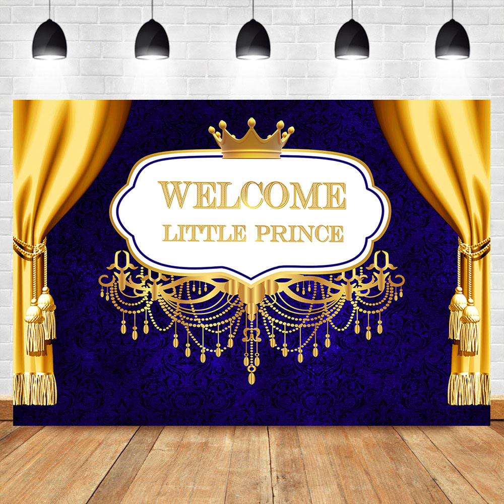NeoBack Royal Baby Shower Photography Background Welcome Little Prince Luxury Sapphire Blue Booth Backdrop Photo Studio