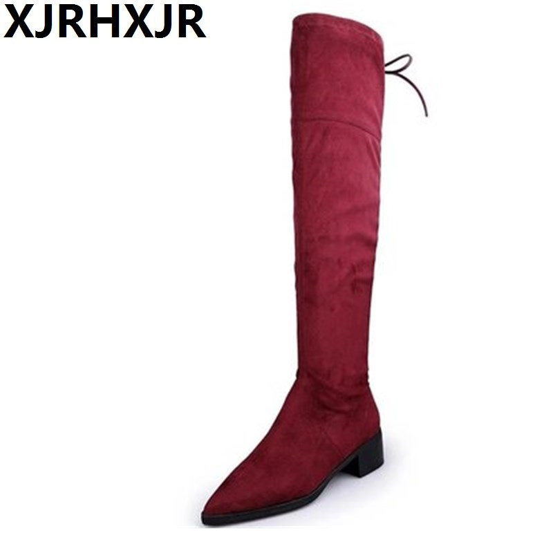 XJRHXJR Thigh High Boots Women Over the Knee Boots Comfort Fall Winter Faux Suede Boots Fashion Shoes Woman Black Size 35-43 2017 winter cow suede slim boots sexy over the knee high women snow boots women s fashion winter thigh high boots shoes woman
