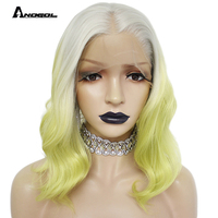 Anogol Short Natural Wave Bob Silver Grey Ombre Light Green Synthetic Lace Front Wig For Women Heat Resistant Fiber 14 inches
