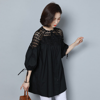 2018 New Women Blouses Plus Size 5xl Women Tops Lace Hollow Out Fashion Womens Clothing Patchwork Puff Sleeve White Shirt Women