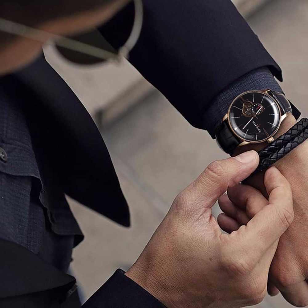 חדש שונית טייגר/RT יוקרה עלה זהב שעון גברים אוטומטי מכאני שעונים Tourbillon שעונים עם חום רצועת עור RGA8239