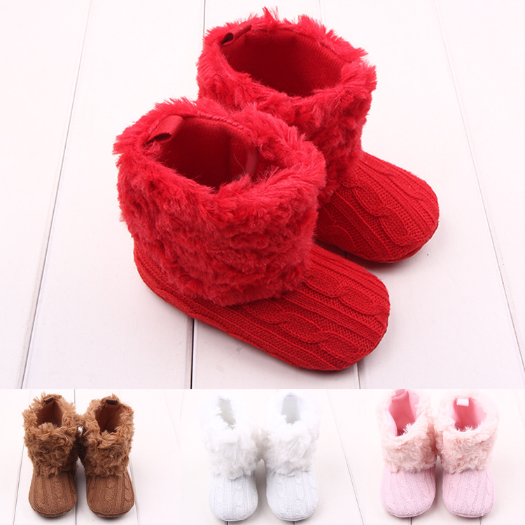 4 Colors 11-13cm Baby Shoes Infants Crochet Knit Fleece Boots Toddler Girl Boy Wool Snow ...