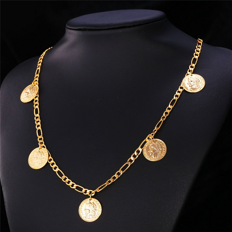Gold Coin Necklaces Money Symbol 18K Real Gold Plated Queen Head For Chain Necklace Charms Trendy Pendants Women Cute Girl N208 table