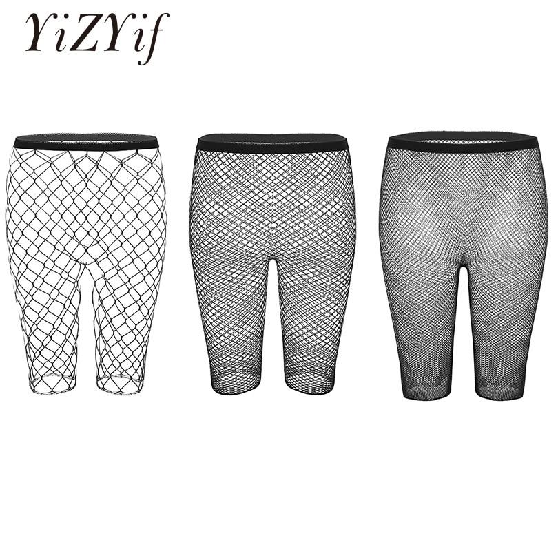 YiZYiF Women Legging Half Pants Black Fishnet Mesh See Through High Waisted Knee Length Slim Fit Leggings Cycling Short Hot Pant