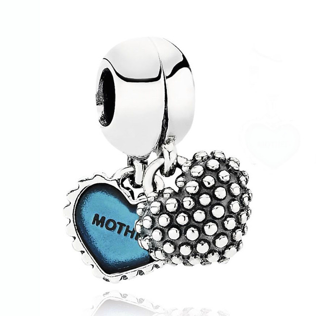 Enamel Mother & Daughter Son Love Hearts Best Friend Pendant Charm Fit Pandora Bracelet 925 Sterling Silver Bead Charm Jewelry 4