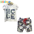 Sodawn Boys Clothes 2017 Summer Casual Boys Clothing Set Letter Short Sleeve+Pants 2Pcs Suit Kids Set