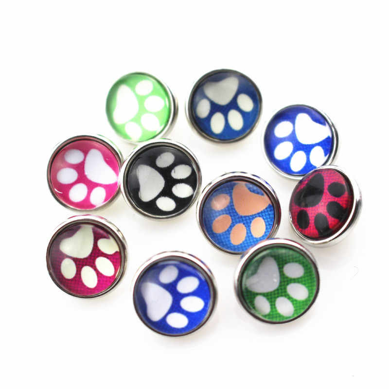 Nuovo arriva 20 pz/lotto mix colore casuale dog paw vetro snap bottoni per 12mm gioielli scatto zenzero a scatto del pendente/braccialetto
