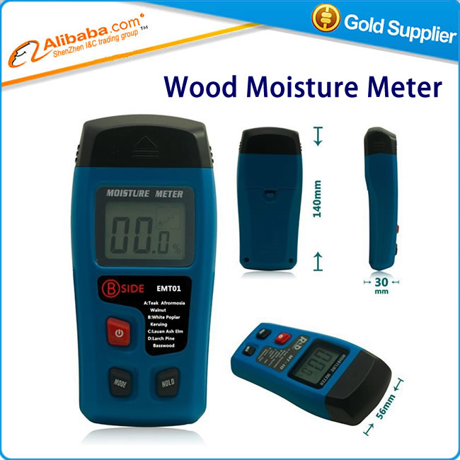EMT01 Portable Digital Wood Moisture Meter 0~99.9% LCD Display Data Hold