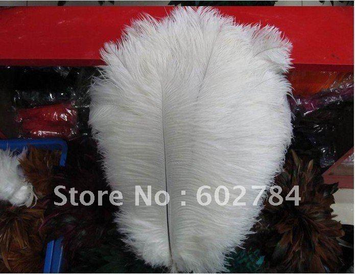 Doprava zdarma 100ks / lot 16-18inch 40-45cm bílé pštrosí fádní peří, bílý pštrosí oblak velkoobchod