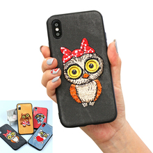 XINGDUO 3D phone case for iphone 8 plus cute animal embroidery  7 6S Plus cover cartoon