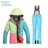 Gsou снег 10 К для женщин S куртка лыжный костюм Camp для верховой езды лыжный спорт Водонепроницаемый 10000 ветрозащитный сноуборд супер теплые ко