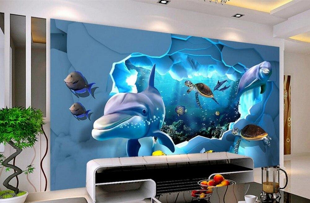 ФОТО customize 3d photo mural wallpaper Underwater World Ocean Background Wall 3d stereoscopic wallpaper