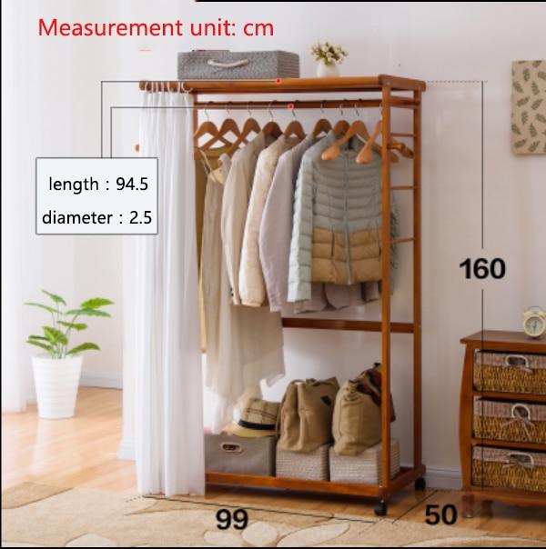 LK26 Portable Multi Function Clothing Hanger Coat Rack Quality Wood Wardrobe Garment Shelves Stand Rolling Clothes Organizer In Storage Holders Racks