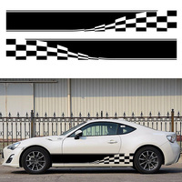 HotMeiNi Car Sticker 2x Checkered Flag Stripe Auto Graphic Decal Vinyl Truck Mini Body Racing Black/Sliver 152*18cm