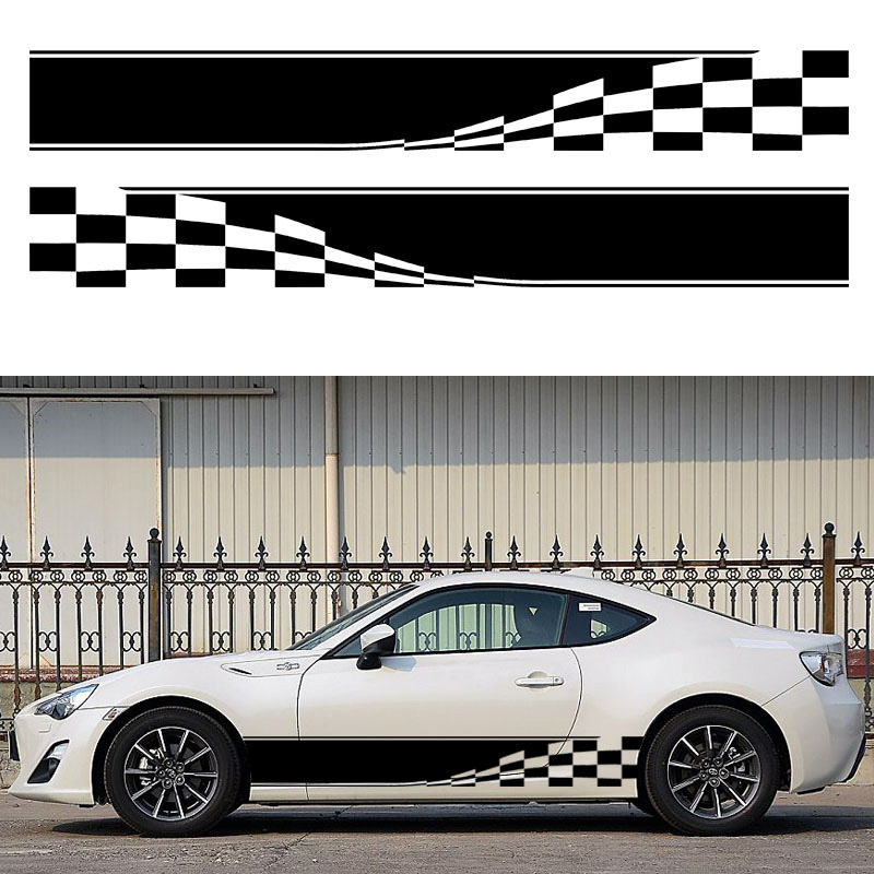 Hotmeini наклейка для автомобилей 2x клетчатый флаг полоса Авто графическая наклейка винил грузовик мини тело Гонки черный/серебристый 152*18 см