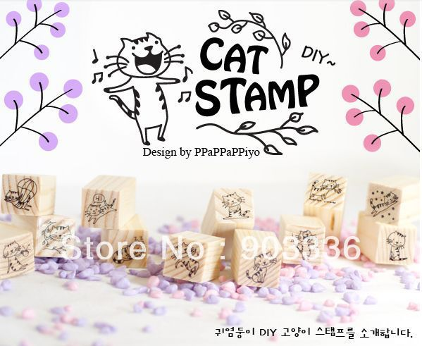 Wholesale wooden stamps,wood crafts for gifts/DIY, diary stamps, cute cat, little kitty stamp, 12pcs/lot,Free Shipping!!!