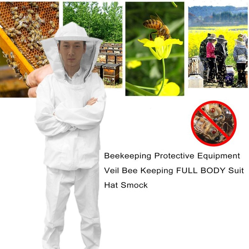 Extra Thick Beekeeping Protective Equipment Veil Bee Keeping FULL BODY Suit Hat Smock beekeeping suit Clothing beekeeping for dummies