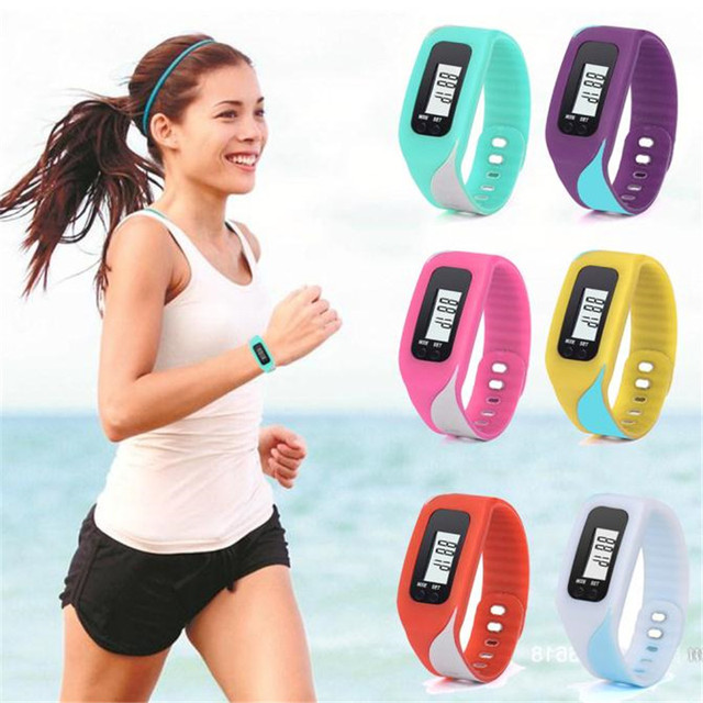 Digital LCD Pedometer Run Step Walking Distance Calorie Counter Watch Women Brac