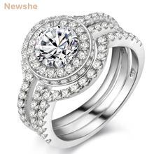 Newshe 3 pçs sólido 925 prata esterlina halo anel de casamento conjunto noivado banda 2 ct aaa cz clássico jóias para mulher