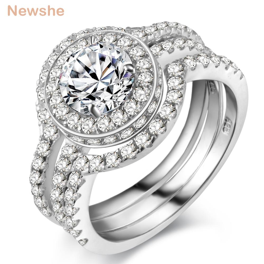 Newshe Solid 925 Sterling Silver 3 Pcs Wedding Ring Set Engagement Band 2 Ct AAA CZ Classic Jewelry For Women newshe pear shape blue side stones aaa cz solid 925 sterling silver wedding ring set engagement band fashion jewelry for women