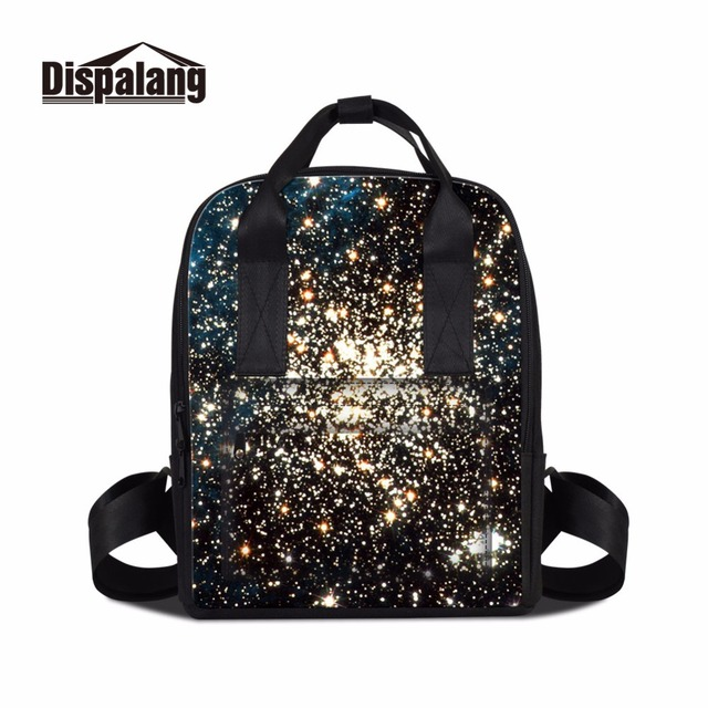 Dispalang Artistic Backpack For Lady Women S Vintage Book Bags Print Starry Sky Pattern On Female Knapsack