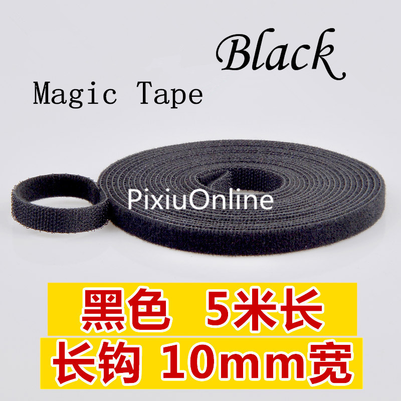 1PCS YT496 BLACK Hookloop Nylon Fastening Tape Magic Tape Strap Wide 10 mm Long/Short Hook Back to Back Cable Tie 5 Meters 1pcs mt025 5 colours hook