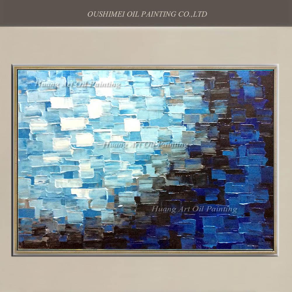 Nové ručně malované nůž na plátně ručně malované moderní abstraktní mřížky olejomalba pro obývací pokoj nástěnné malby