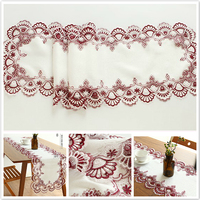 European Simple Pastoral Water Soluble Lace Embroidered Table Runner Mats Flag Cloth Fabric Hollow Coffee Placemat Christmas Pad