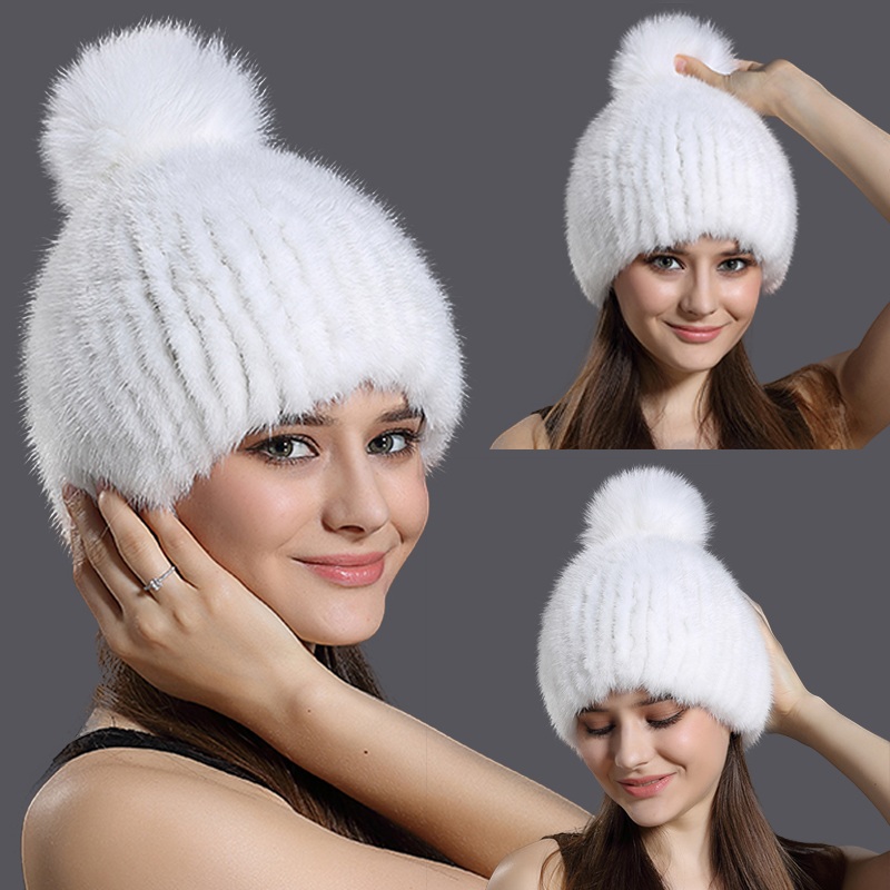 Russia Winter Real Mink Fur Hat Women Fashion Knitted Fur Ball Caps Skullies Beanies Warm Ear