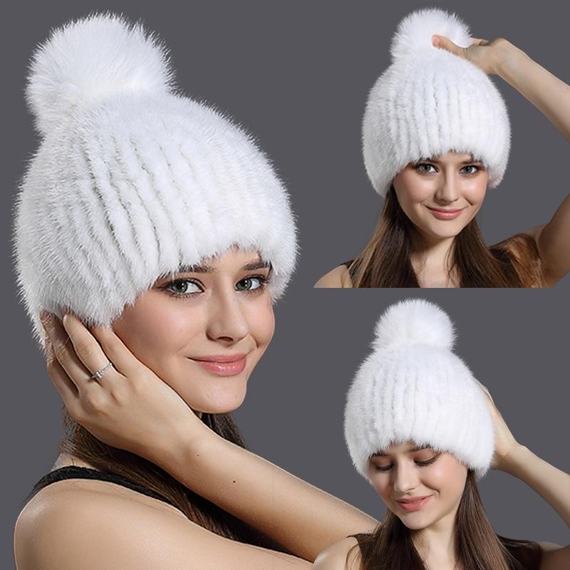 Russia Winter Real Mink Fur Hat Women Fashion Knitted Fur Ball Caps Skullies&Beanies Warm Ear Protection Fox Fur Pompom Ball Hat