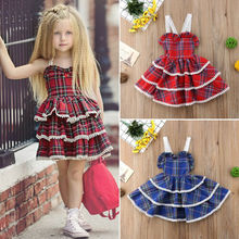 AU Princess Kids Baby Girl Dress Lace Plaid Ruffle Layered Party Pageant Dresses
