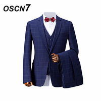 OSCN7 Navy Wool Check Tailored Suit Men 2018 Slim Fit Custom Men Suit Half Canvas 3 Piece Jacket Pants Vests Wedding Groom