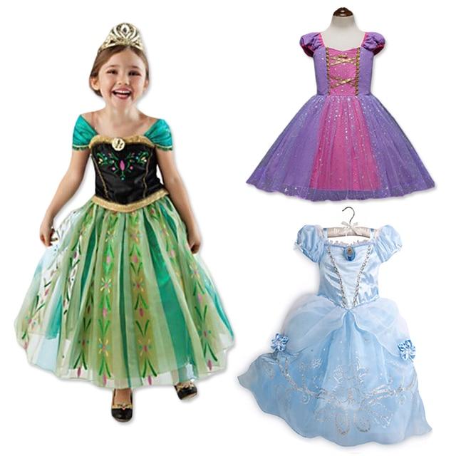 fb09d2e31 Chica de verano de moda Elsa Anna vestido ropa de los niños niñas princesa  Cenicienta Vestidos de fiesta ropa de bebé niños Vestidos